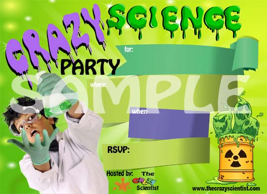kids science party invitations, Party invitations